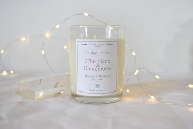 """Bougie parfumée """"Thé blanc & gingembre"""" 180gr Édition limitée Le Petit Savon Bio"""